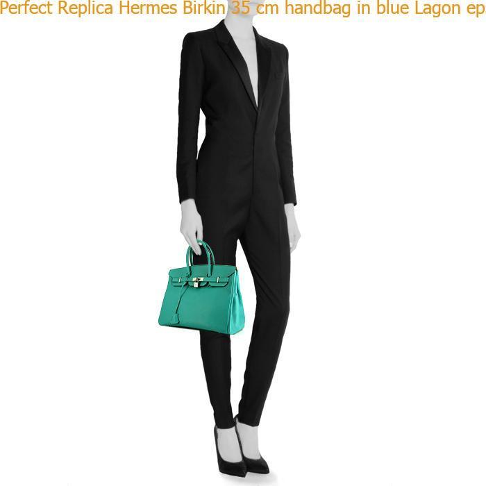 b8f56944336 Perfect Replica Hermes Birkin 35 cm handbag in blue Lagon epsom leather