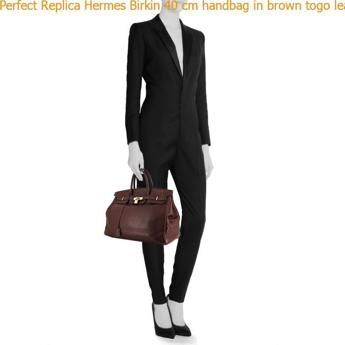 f90d1cf973 Perfect Replica Hermes Birkin 40 cm handbag in brown togo leather ...