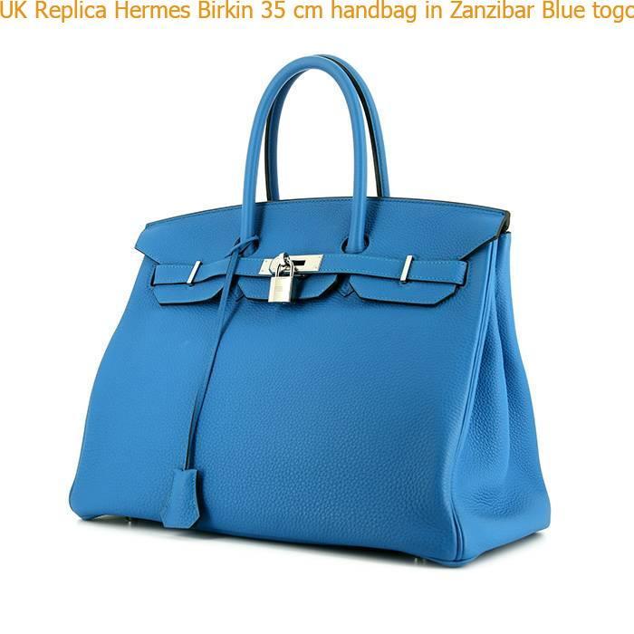 86d59e6ce4 UK Replica Hermes Birkin 35 cm handbag in Zanzibar Blue togo leather ...