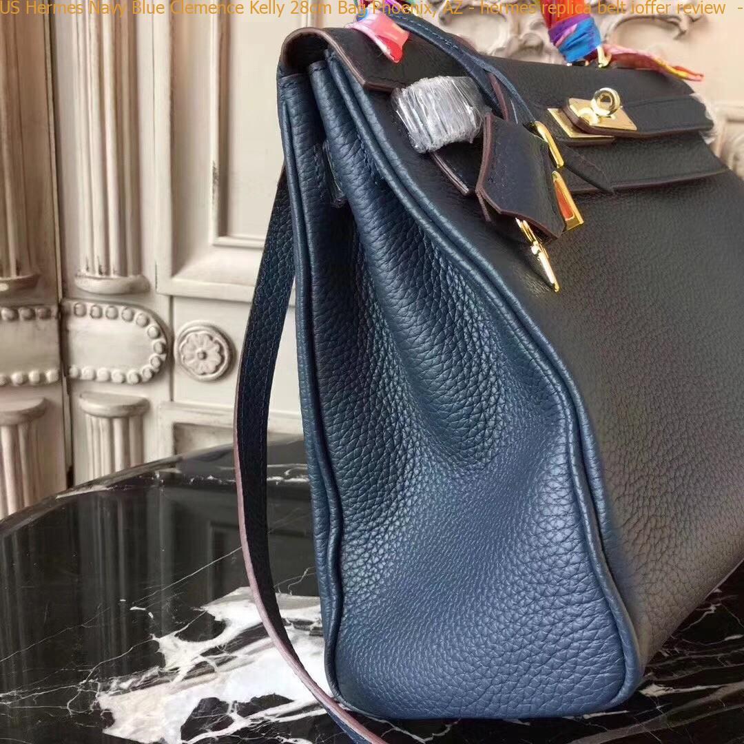 bfe3b9ba6339 US Hermes Navy Blue Clemence Kelly 28cm Bag Phoenix